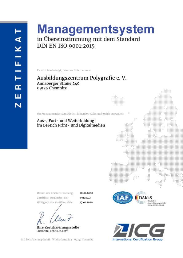 Zertifikat ISO-9001