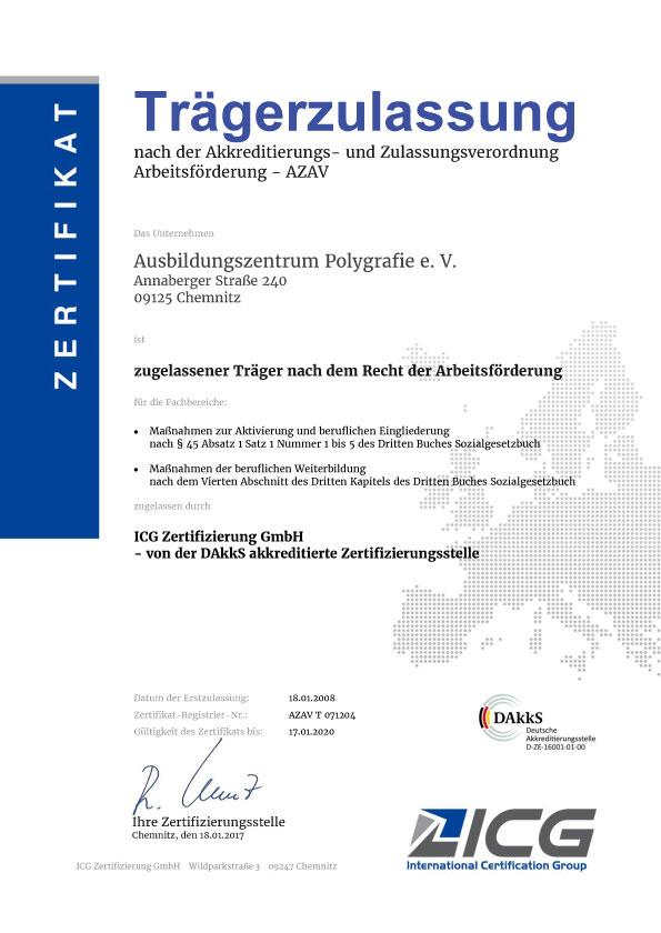 Zertifikat AZAV Trägerzulassung